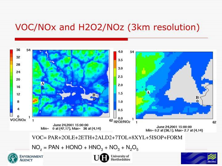 VOC/NOx and H2O2/NOz (3km resolution)