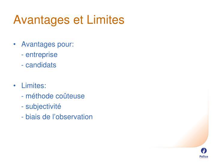 Avantages et Limites