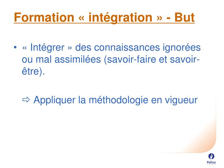 Formation « intégration » - But