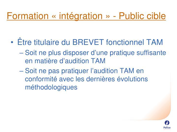 Formation «intégration» - Public cible