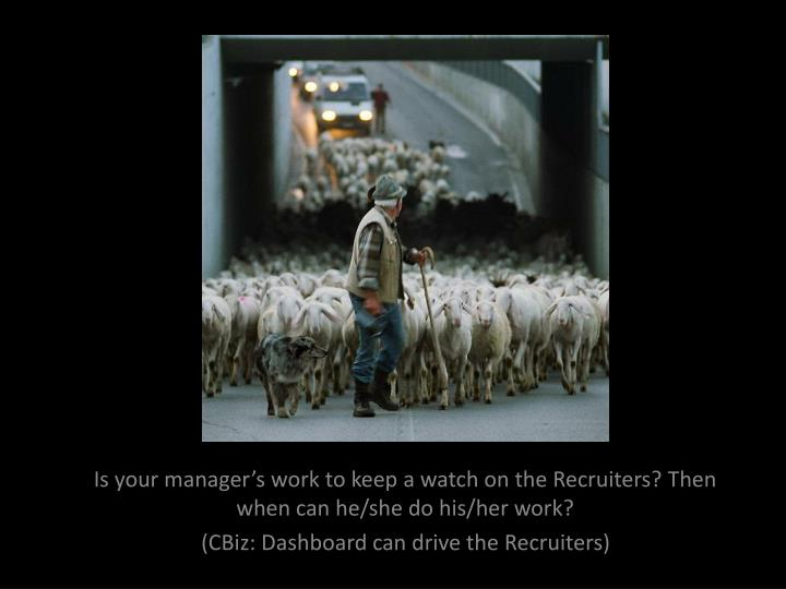 Is your manager's work to keep a watch on the Recruiters? Then when can he/she do his/her work?