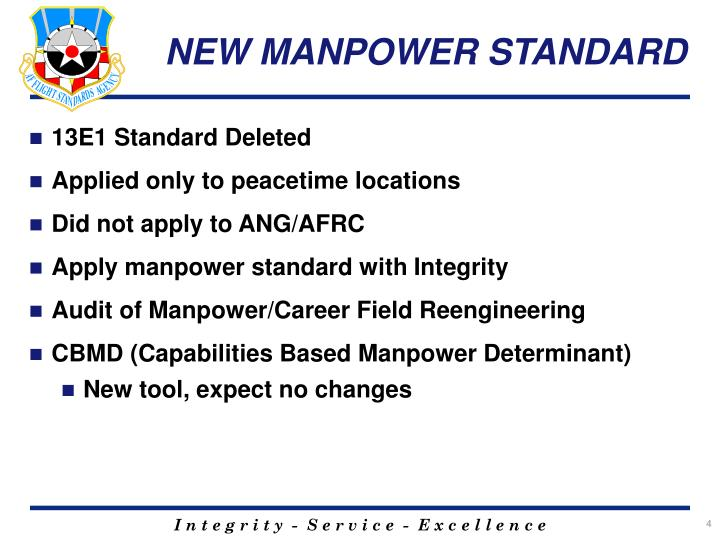 NEW MANPOWER STANDARD