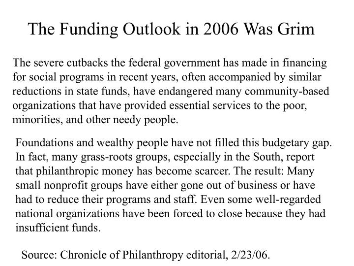 The Funding Outlook in 2006 Was Grim