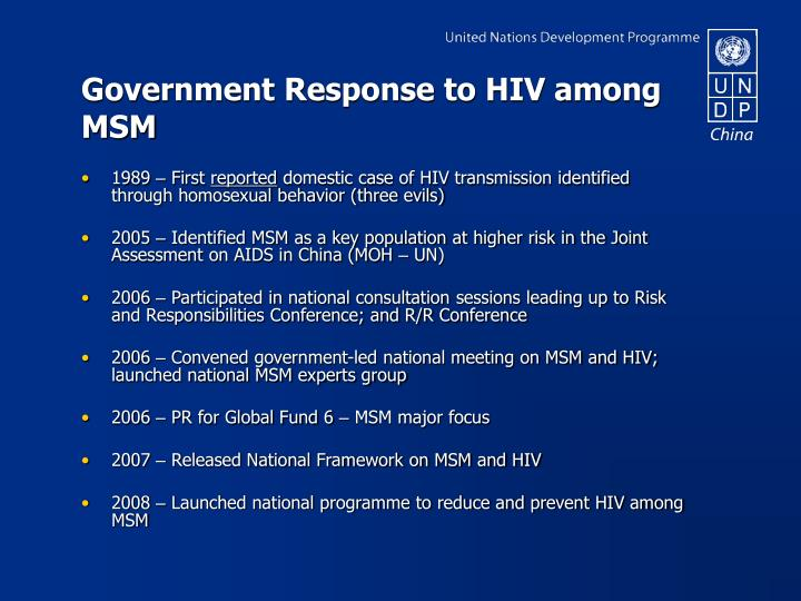 Government Response to HIV among MSM