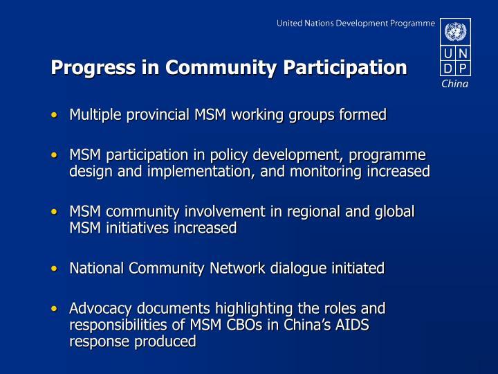 Progress in Community Participation
