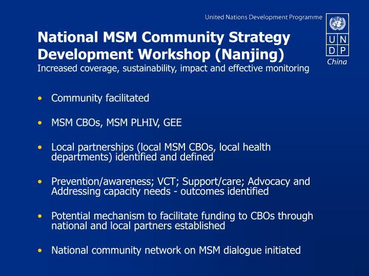 National MSM Community Strategy Development Workshop (Nanjing)