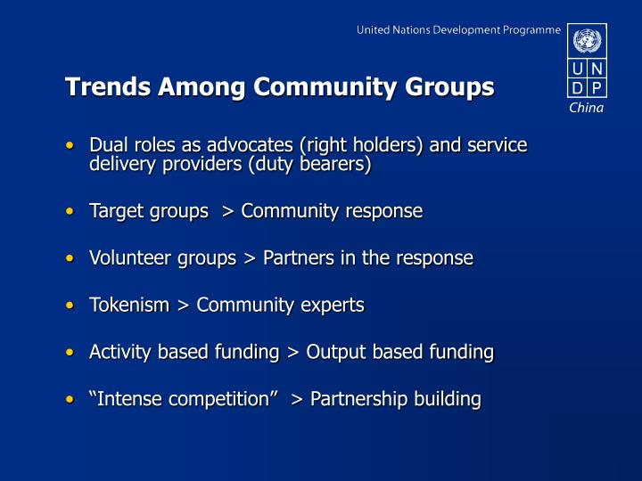 Trends Among Community Groups