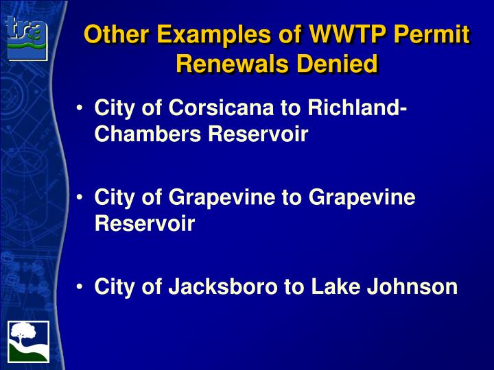 Other Examples of WWTP Permit Renewals Denied