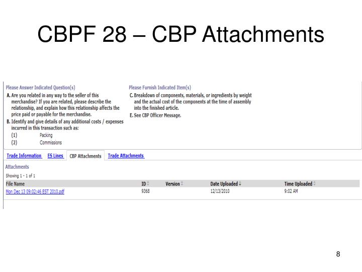 CBPF 28 – CBP Attachments