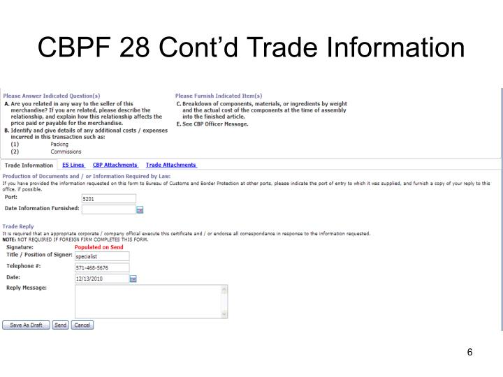 CBPF 28 Cont'd Trade Information