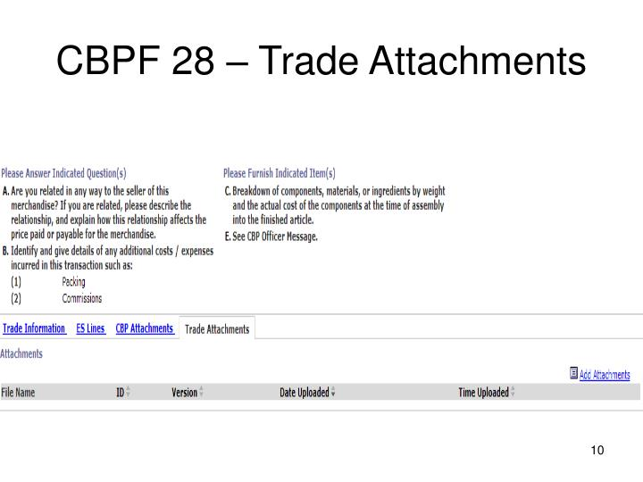 CBPF 28 – Trade Attachments