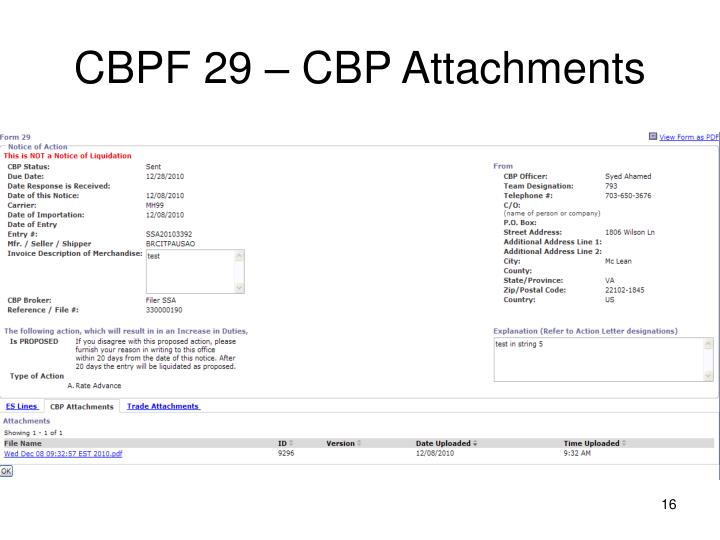 CBPF 29 – CBP Attachments
