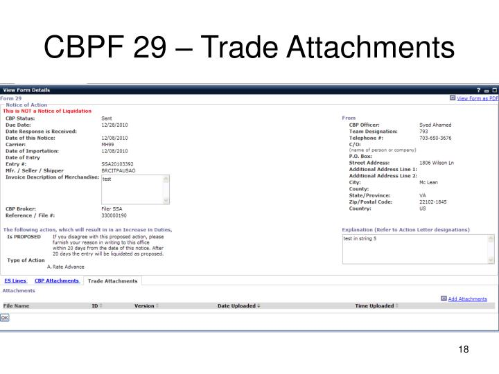 CBPF 29 – Trade Attachments