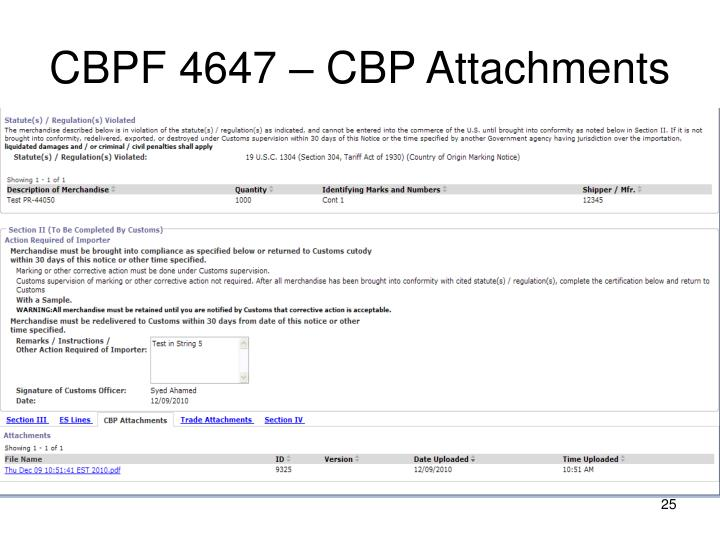 CBPF 4647 – CBP Attachments