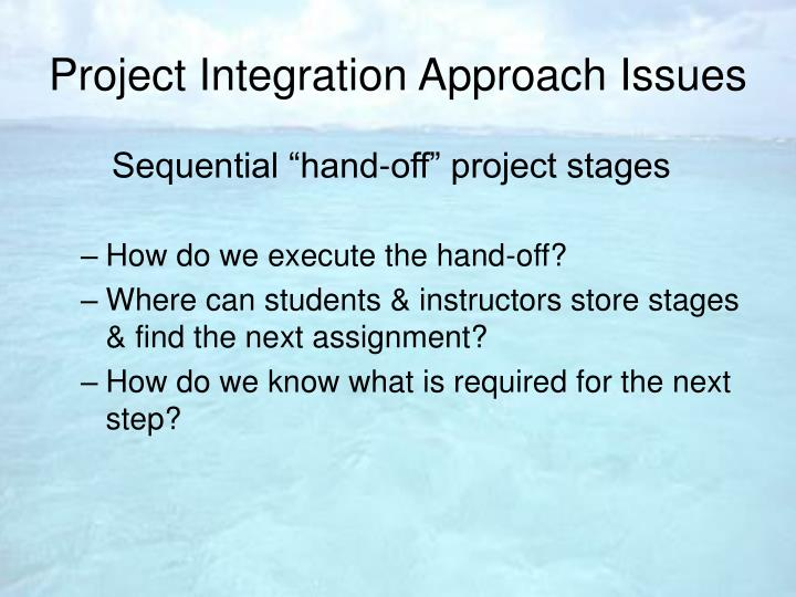 Project Integration Approach Issues