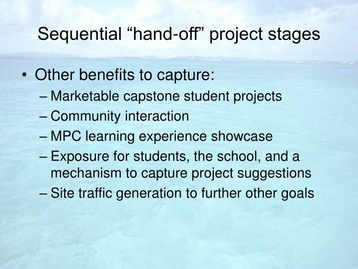"Sequential ""hand-off"" project stages"