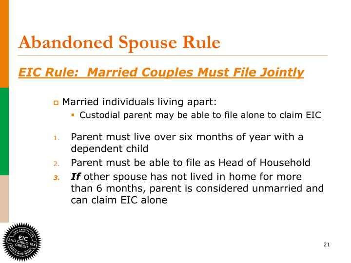 Abandoned Spouse Rule