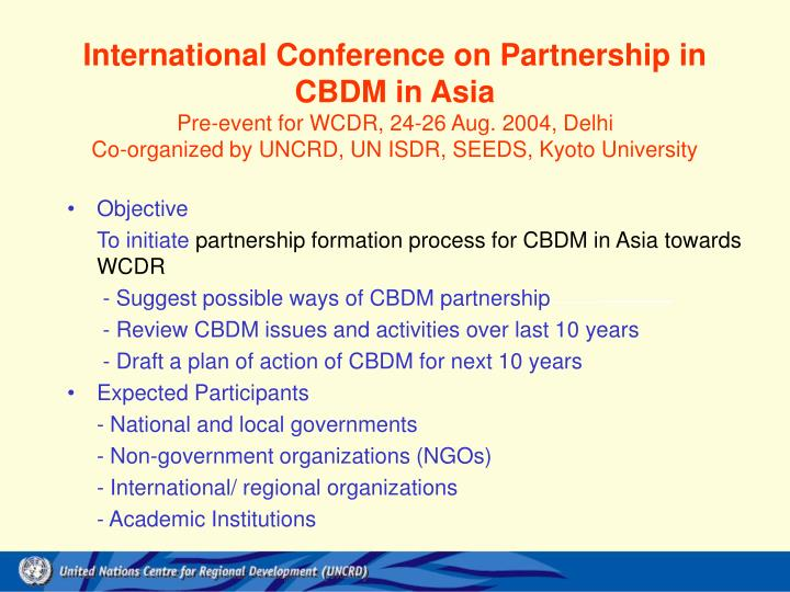 International Conference on Partnership in CBDM in Asia