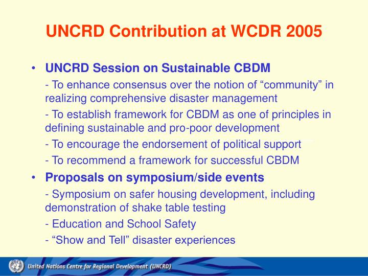 UNCRD Contribution at WCDR 2005