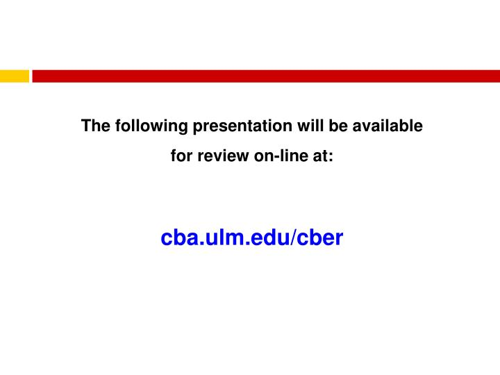 The following presentation will be available