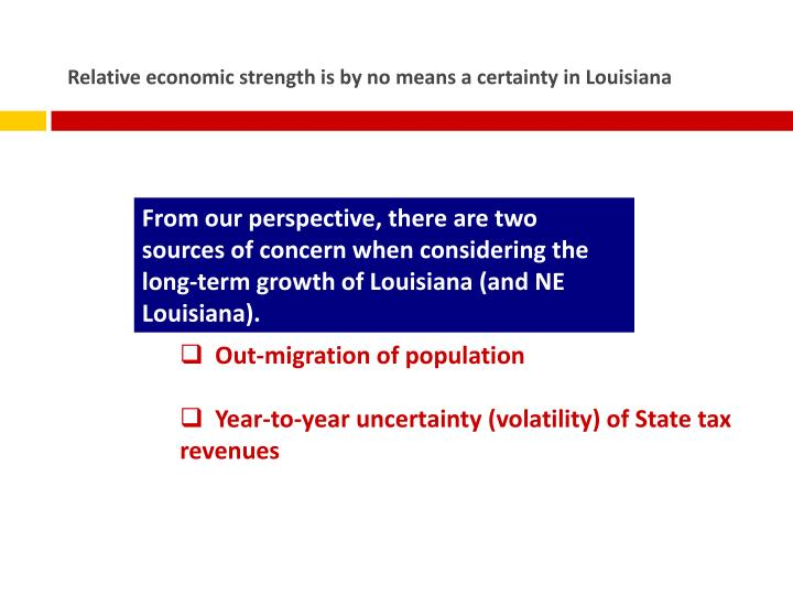 Relative economic strength is by no means a certainty in Louisiana
