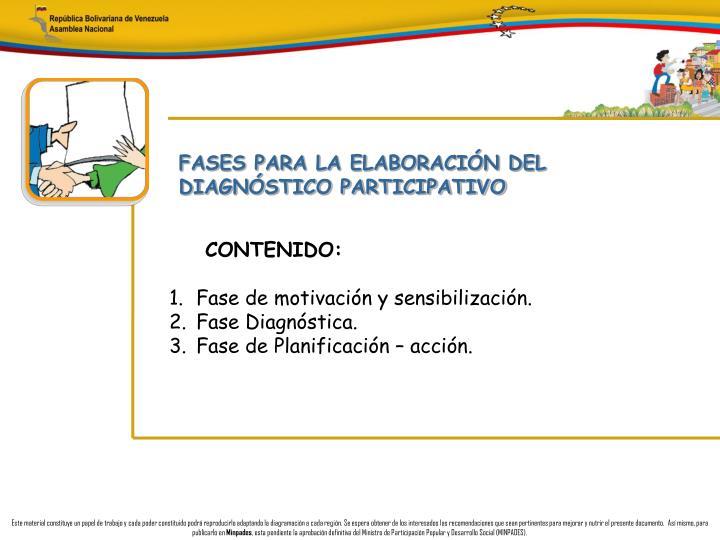 FASES PARA LA ELABORACIÓN DEL DIAGNÓSTICO PARTICIPATIVO