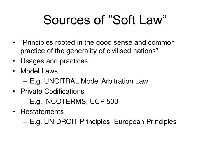 "Sources of ""Soft Law"""