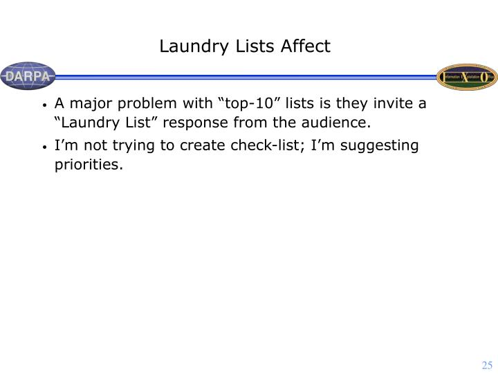 Laundry Lists Affect