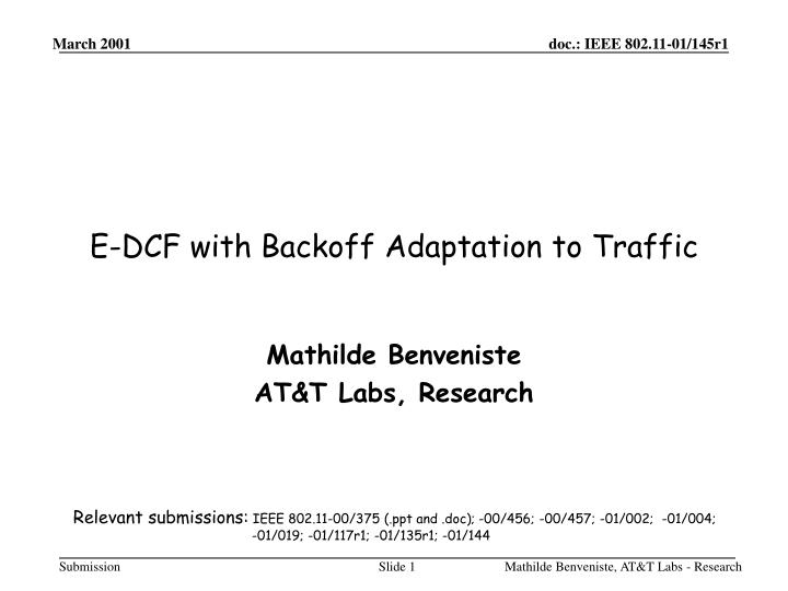 E dcf with backoff adaptation to traffic