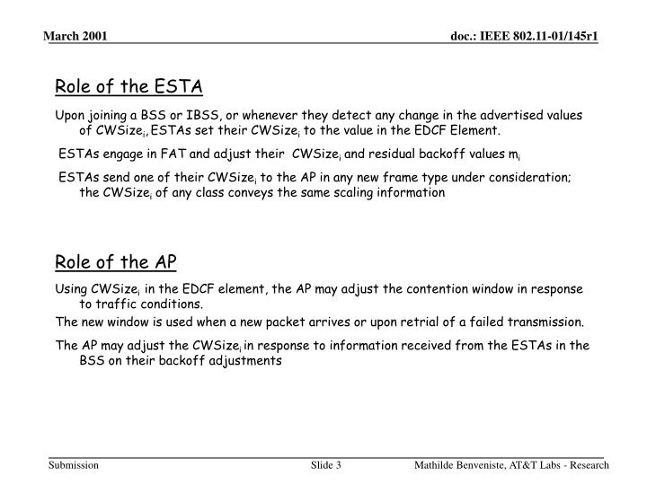 Role of the esta