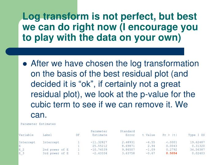 Log transform is not perfect, but best we can do right now (I encourage you to play with the data on your own)