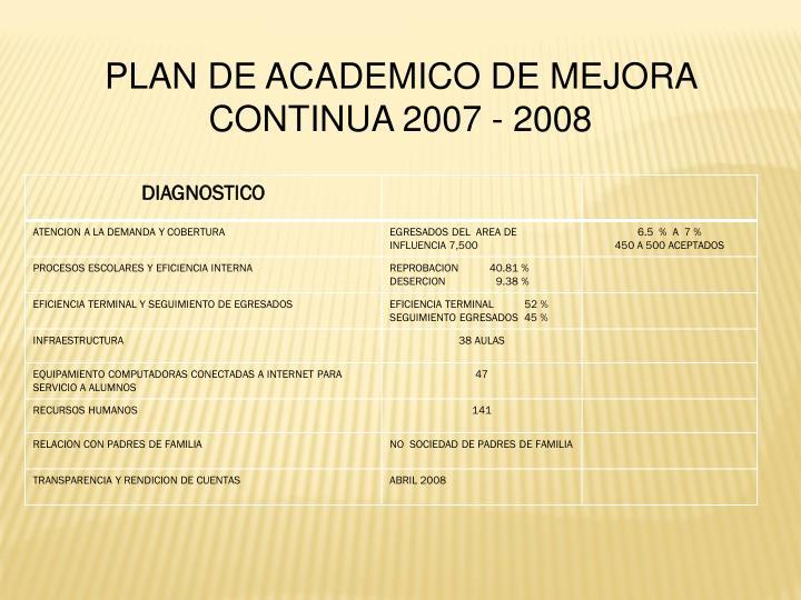 PLAN DE ACADEMICO DE MEJORA CONTINUA 2007 - 2008