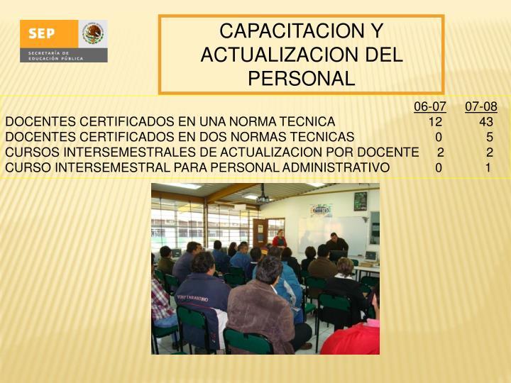 CAPACITACION Y ACTUALIZACION DEL PERSONAL