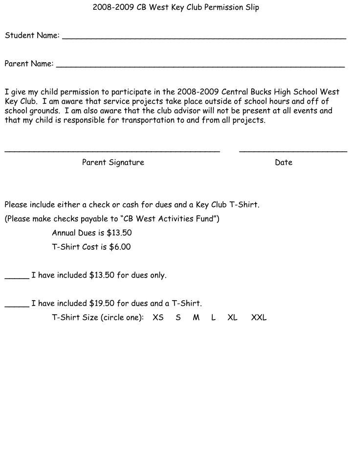 2008-2009 CB West Key Club Permission Slip