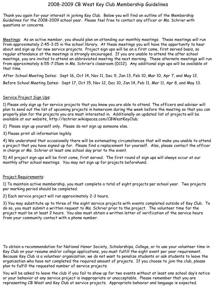 2008-2009 CB West Key Club Membership Guidelines