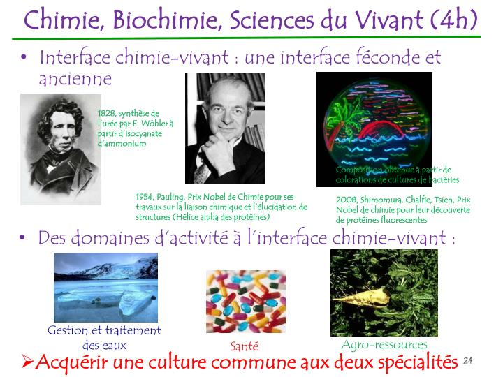 Chimie, Biochimie, Sciences du Vivant (4h)