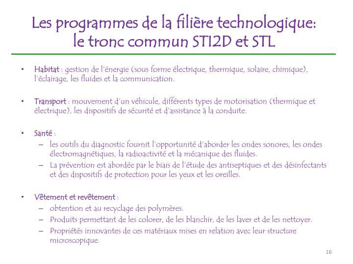 Les programmes de la filière technologique: