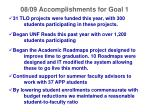 08 09 accomplishments for goal 1
