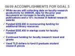 08 09 accomplishments for goal 3
