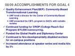 08 09 accomplishments for goal 4