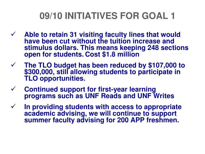 Able to retain 31 visiting faculty lines that would have been cut without the tuition increase and stimulus dollars. This means keeping 248 sections open for students.