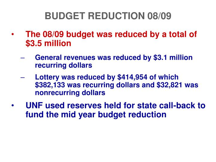 BUDGET REDUCTION 08/09