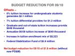 budget reduction for 09 101