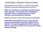 divisional budget reductions1