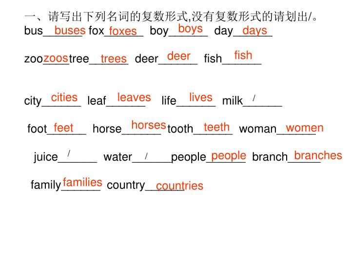 一、请写出下列名词的复数形式