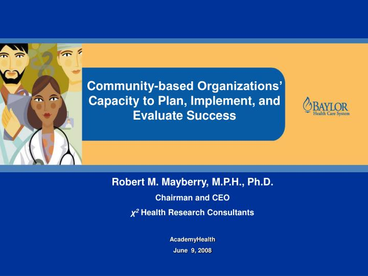 Community-based Organizations' Capacity to Plan, Implement, and Evaluate Success
