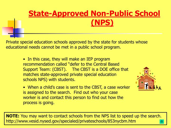 State-Approved Non-Public School (NPS)
