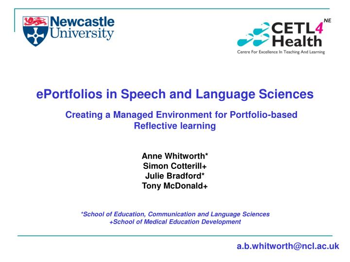 EPortfolios in Speech and Language Sciences