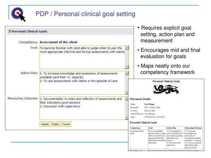 PDP / Personal clinical goal setting