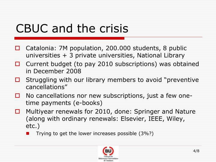 CBUC and the crisis